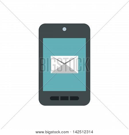 Writing e-mail on phone icon in flat style isolated on white background. Message symbol
