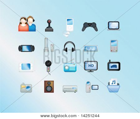 electronic illustration set of icons and symbols on blue