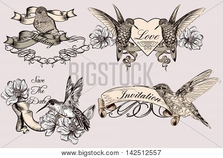 Beautiful collection of vector labels badges or logotypes for save the date invitation and wedding design. Antique style with hand drawn hummingbirds and ribbons