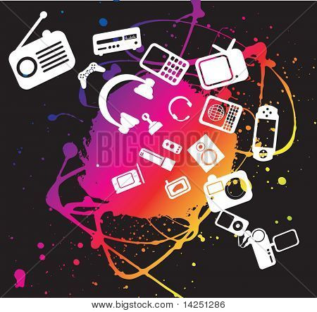 funky electronic gadget illustration including paint grunge splash