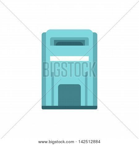 Blue inbox icon in flat style isolated on white background. Message symbol
