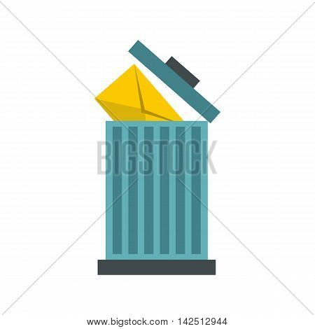 Delete letter in basket icon in flat style isolated on white background. Message symbol