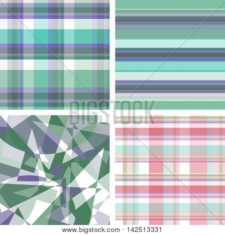 Set of checkered seamless fabric background, strip seamless fabric background and triangular fabric pattern. Vector illustration.