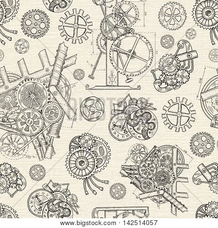 Seamless textured background with vintage cogs, gears and mechanical parts. Graphic linear pattern with engraved drawings, illustration with retro mechanisms, steampunk and old technology style