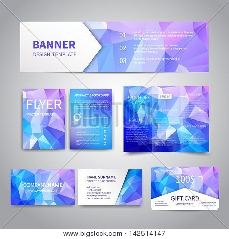 Banner, flyers, brochure, business cards, gift card design templates set with geometric triangular blue icy background. Corporate Identity set, Advertising, Christmas party promotion printing