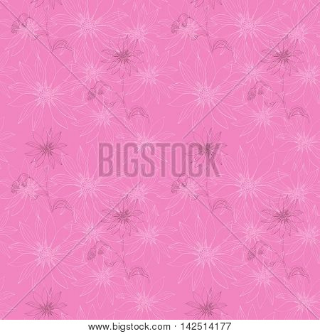 Seamless vector pattern with Jerusalem artichokes on pink background. Print for fabric, ceramic tiles, web design. Bandana print or lovely tablecloth.