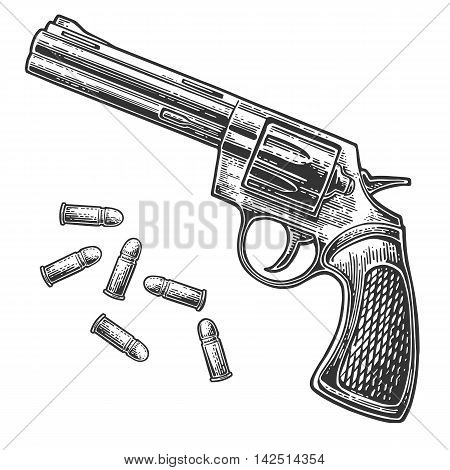 Revolver with bullets. Vector engraving vintage illustrations. Isolated on white background. For tattoo web shooting club and label