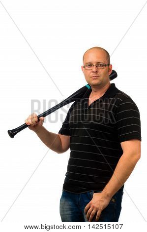 Bold man in glasses and black casual shirt holding a baseball bat and looking at the camera isolated on white background