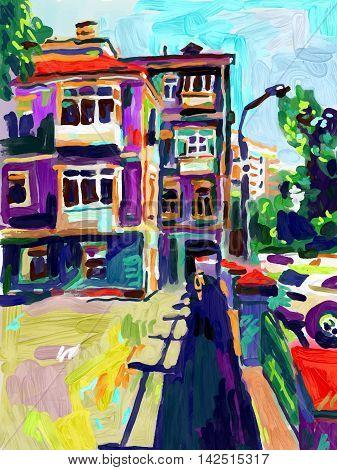 original open air digital oil painting, town old street in summer, modern Impressionism, vector illustration