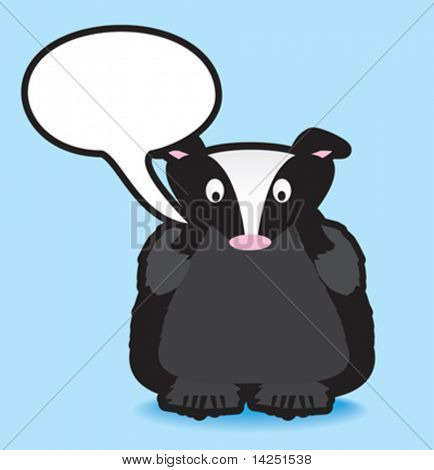 Funky vector illustration of a badger with a chunky black outline