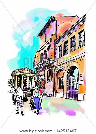 original digital watercolor drawing of Rome street, Italy, old italian imperial building with people walking, travel book vector illustration