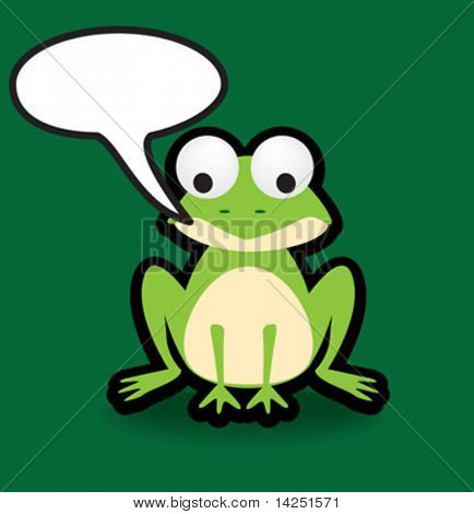 Funky vector illustration of a frog with a chunky black outline