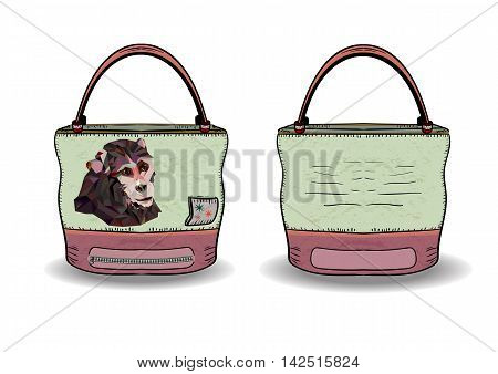 Cute accessory with print. Vector images bag