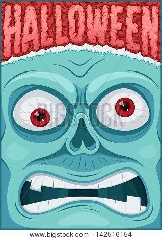 Zombie poster. Halloween poster. Halloween cardposter. Vector illustration.