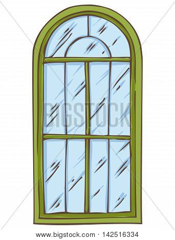 Green Arched Window Isolated on a White. Hand Drawn Illustration