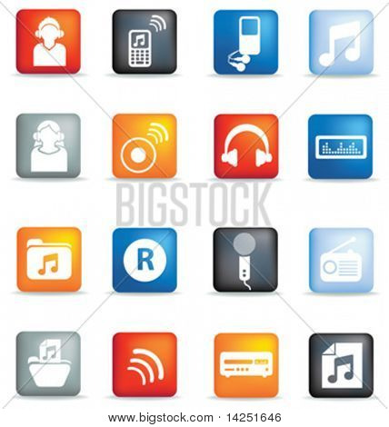 A set of modern icon illustrations for the music and entertainment industry