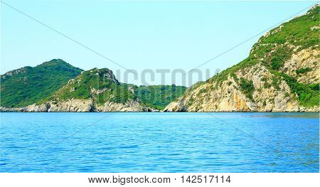 View On A Bay And Mountain Chain On The Island Corfu In The Mediterrannean Sea