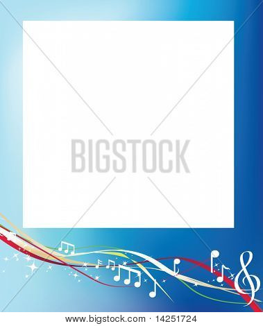musical background notes and swirls on blue