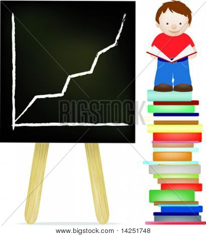 Little boy standing on a stack of books alongside a blackboard with his reading success on it