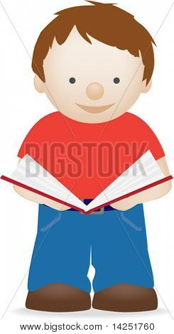Vector illustration of an isolated child reading a book