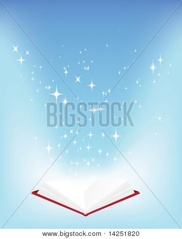 Magic open book vector illustration with stars