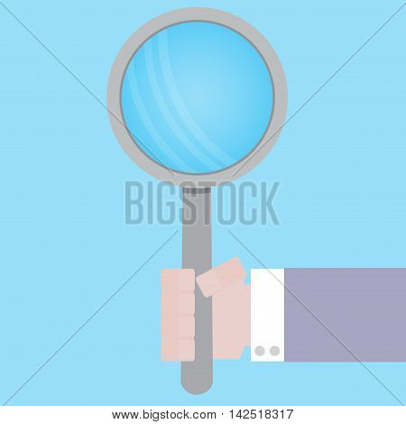 Magnifying glass in hand. Research analysis and discovery concept. Vector illustration
