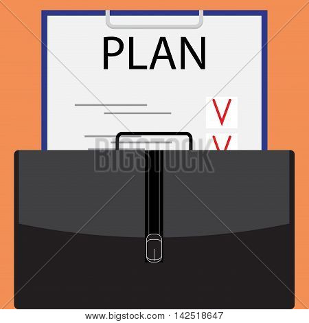 Business plan flat design. Business strategy and model strategic planning portfolio and list. Vector illustration