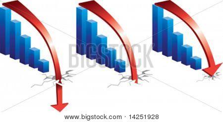 Kreditkrise, Graph zeigt einen scharfen Einbruch und Absturz