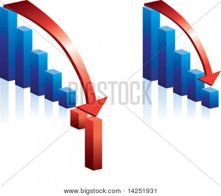 illustration of a falling graph and red arrow