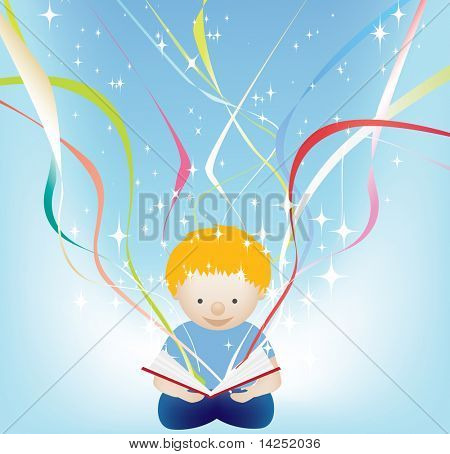 character illustration of a child reading a magic book