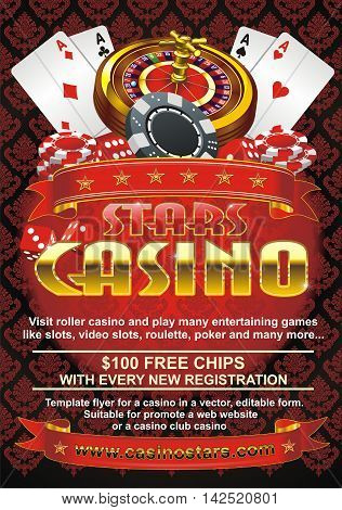 Template flyer for a casino in a vector, editable form. Suitable for promote a web website or a casino club casino