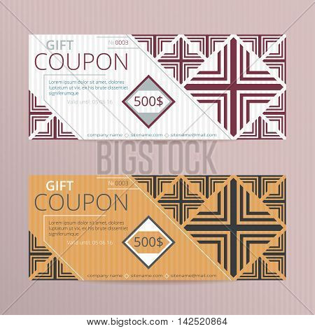 Vector illustration of gift voucher template collection. Voucher tickets. Voucher sale coupon.