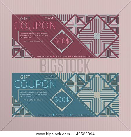 Vector illustration of gift voucher template collection. Voucher tickets.