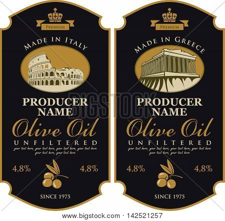 Label for olive oil Made in Italy and Greece with the image of acropolis of Athens and Parthenon