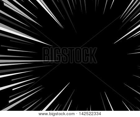 Comic book explosion superhero pop art style black and white radial lines background.