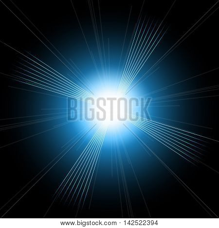 Beautiful bright lens flares. Lighting effects of flash