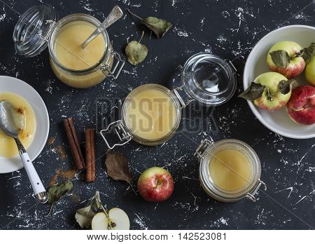 Homemade apple sauce in glass jars on dark background. Top view