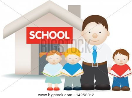 illustration of a teacher and students outside school