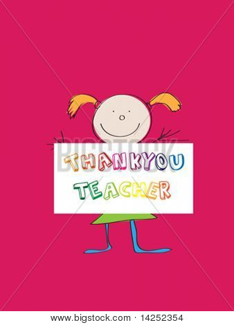 illustration of a child's drawing thanking teacher
