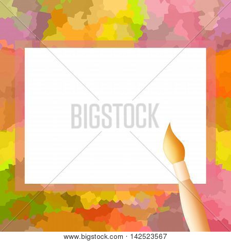Bright colorful photo frame with painting brush