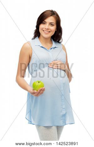 pregnancy, healthy eating, food and people concept - happy pregnant woman holding green apple over white background