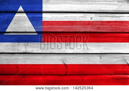 Flag Of Bahia State, Brazil, Painted On Old Wood Plank Background