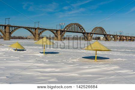 Winter on a river beach in Dnepropetrovsk city Ukraine