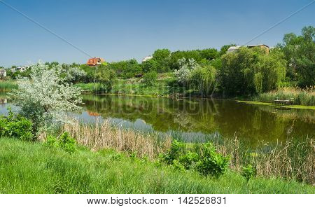 Ukrainian rural summer landscape with small river Sura in spring season.