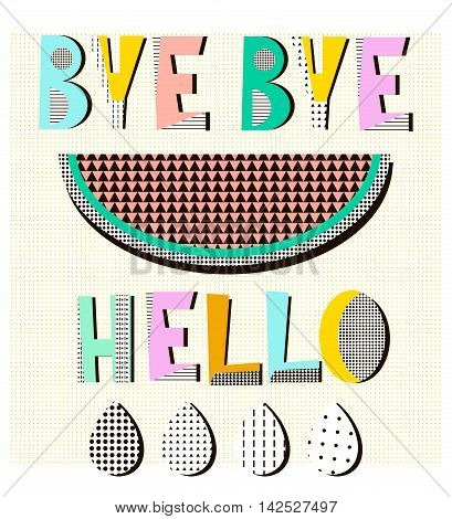 Bye bye summerhello autumn poster in geometric style with modern shapes. Memphic geometric background. Vector Illustration