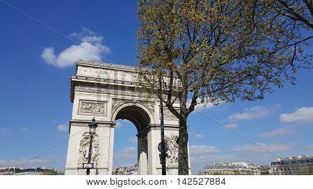 PARIS FRANCE - APRIL 25: Beautiful view of the Arc de Triomphe France on April 25 2016