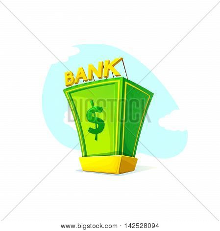 Money Bank concept design with a pile of money and gold bullion symbols of wealth and prosperity on landscape background, vector illustration