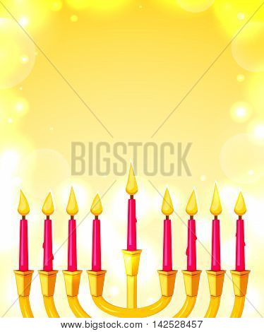 Happy Hanukkah, greeting card with menorah and space for text, vector illustration