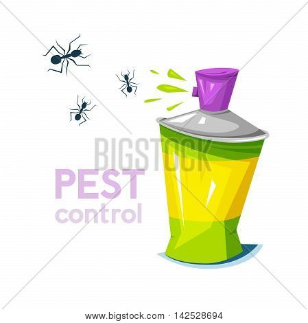 Pest control, concept design, the chemical agent in aerosol sprays liquid on parasites insects, vector illustration