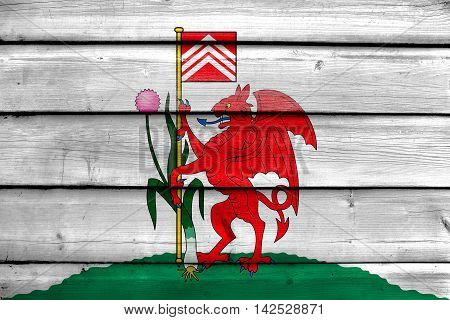 Flag Of Cardiff, Wales, Uk, Painted On Old Wood Plank Background